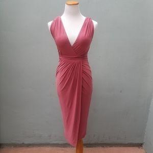 Rebecca Stella Faux Wrap Bodycon Dress XS Pink